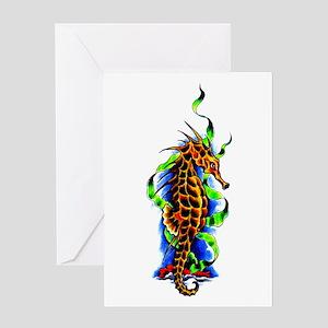 Seahorse Animal Art Tattoo Greeting Card