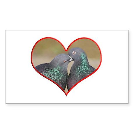 Pigeon Romance Rectangle Sticker