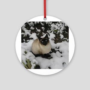 Siamese Snow Cat Ornament (Round)