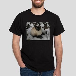 Siamese Snow Cat Dark T-Shirt