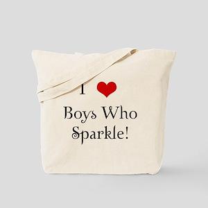 I Love Boys Who Sparkle Tote Bag