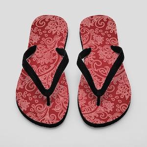 Paisley Damask Red Vintage Pattern Flip Flops