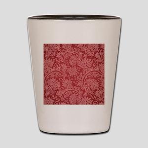 Paisley Damask Red Vintage Pattern Shot Glass