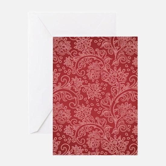 Paisley Damask Red Vintage Pattern Greeting Cards