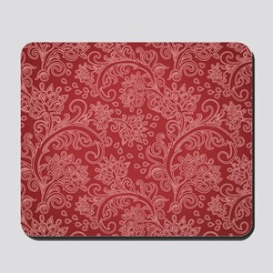 Paisley Damask Red Vintage Pattern Mousepad