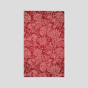 Paisley Damask Red Vintage Pattern Area Rug