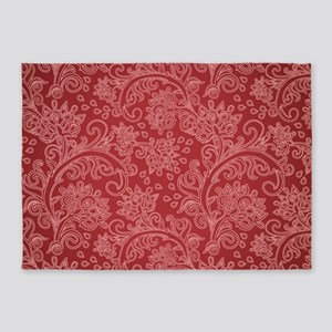 Paisley Damask Red Vintage Pattern 5'x7'Area Rug