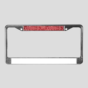 Paisley Damask Red Vintage Pat License Plate Frame