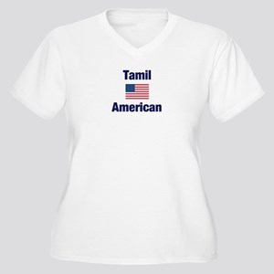 Tamil American Women's Plus Size V-Neck T-Shirt