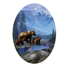 Mountain Grizzly Bears Ornament (Oval)