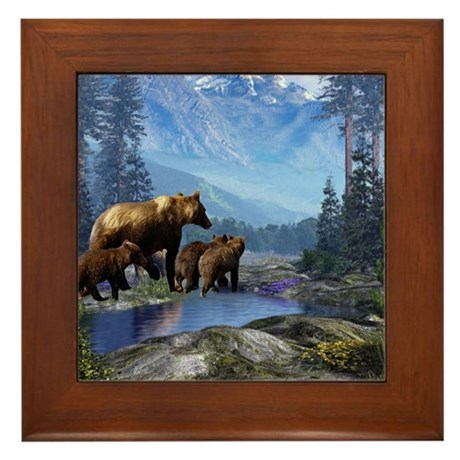 Mountain Grizzly Bears Framed Tile