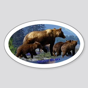 Mountain Grizzly Bears Sticker (Oval)