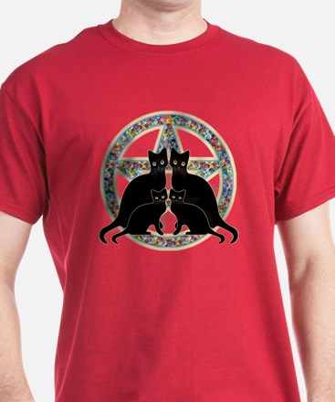 Flowers Pentagram and Cats T-Shirt