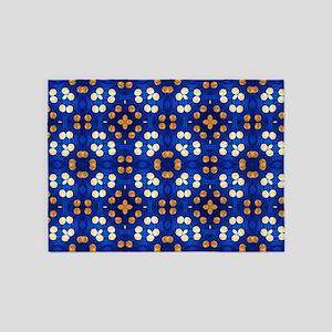 Blue and Orange Striped Polka Dots 5'x7'Area Rug