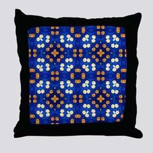 Blue and Orange Striped Polka Dots Throw Pillow