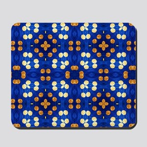 Blue and Orange Striped Polka Dots Mousepad