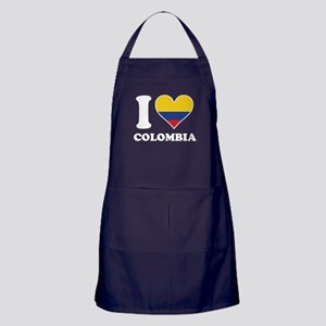 I Love Colombia Colombian Flag Heart Apron (dark)