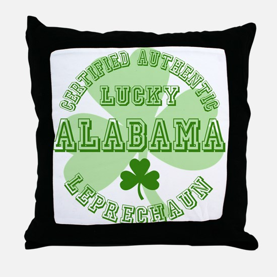 Lucky Alabama Leprechaun Throw Pillow