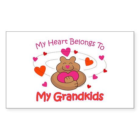 Heart Belongs To Grandkids Rectangle Sticker