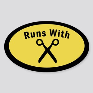 Runs With Scissors Oval Sticker