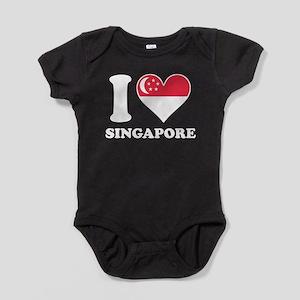 I Love Singapore Singaporean Flag Heart Body Suit
