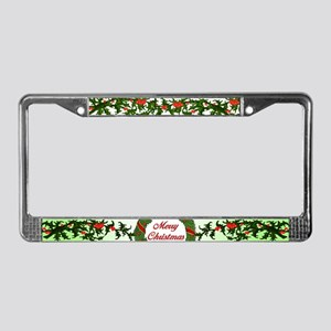 Merry Christmas Holly License Plate Frame