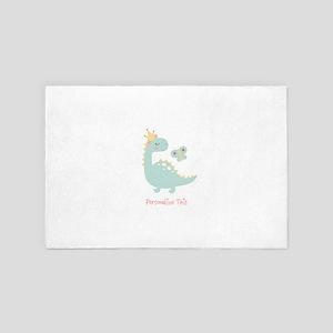 Dinosaur Princess Personalized 4' x 6' Rug
