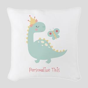 Dinosaur Princess Personalized Woven Throw Pillow