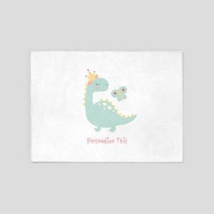 Dinosaur Princess Personalized 5'x7'Area Rug