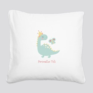 Dinosaur Princess Personalized Square Canvas Pillo