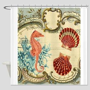 ocean seahorse seashells nautical b Shower Curtain