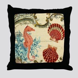 ocean seahorse seashells nautical bea Throw Pillow