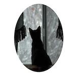 Kitten in Window Oval Ornament