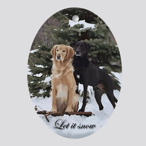 Retrievers Let It Snow Oval Ornament