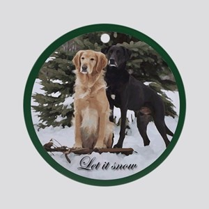 Retrievers Let It Snow Round Ornament