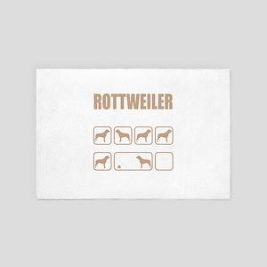 Stubborn Rottweiler Tricks design 4' x 6' Rug