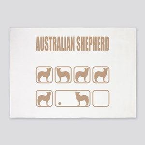 Stubborn Australian Shepherd Tricks 5'x7'Area Rug