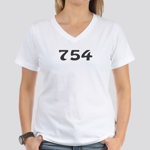 754 Area Code Women's V-Neck T-Shirt
