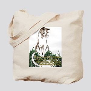 Man Crossed With a Cat Tote Bag