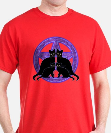 Purple Pentagram Cats T-Shirt