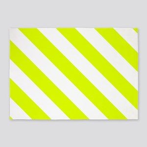 Chartreuse Diagonal Stripes Pattern 5'x7'Area Rug