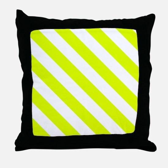 Chartreuse Diagonal Stripes Pattern Throw Pillow