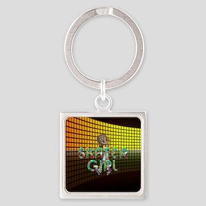 Roller Skater Girl Square Keychain