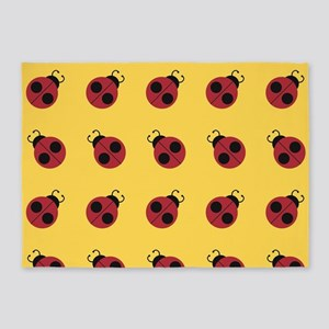 Cute Red Ladybug Yellow Pattern 5'x7'Area Rug