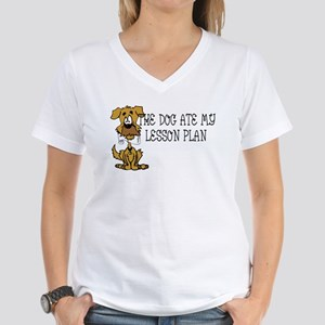 My Dog Ate My Lesson Plan Women's V-Neck T-Shirt