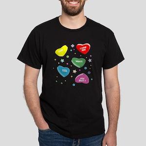 Valentine's Candy Hearts Dark T-Shirt