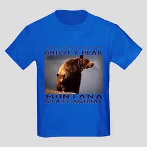 Grizzly - Montana State Animal Kids Dark T-Shirt