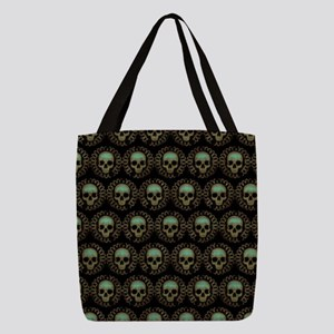 Turquoise Skulls Pattern Polyester Tote Bag