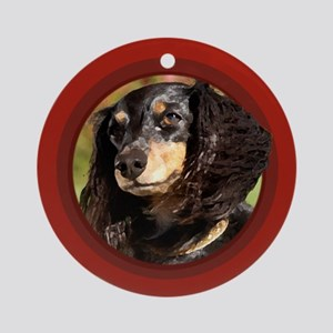 Long-Haired Dachshund Red Round Ornament
