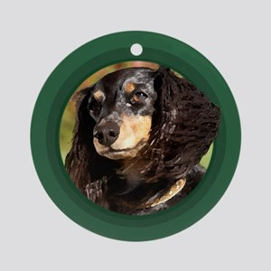 Long-Haired Dachshund Green Round Ornament